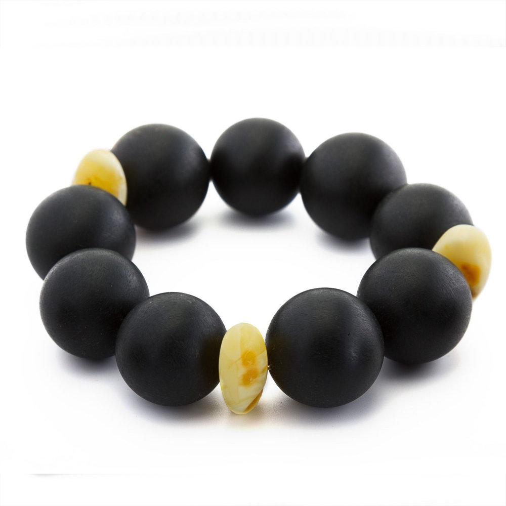 luxury black amber round bracelet for both. Black Bedroom Furniture Sets. Home Design Ideas