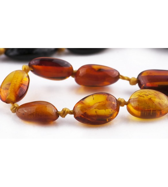 Amber Adult Bracelets Bean Polished Rainbow