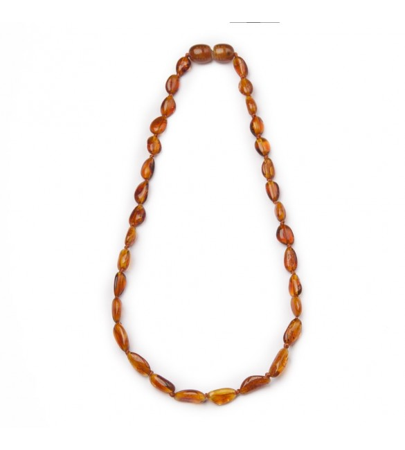 Amber Baby necklace Bean Polished Cognac
