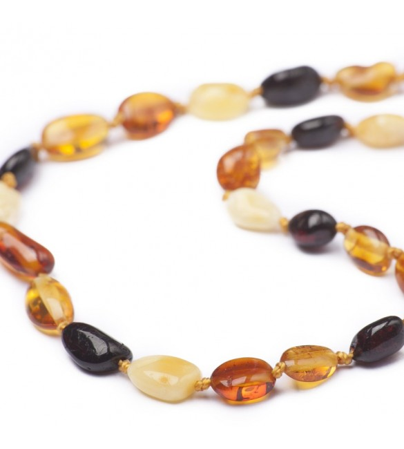 Amber Baby necklace Bean Polished Mix
