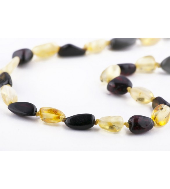 Amber Baby necklace Bean Polished Cherry-Lemon
