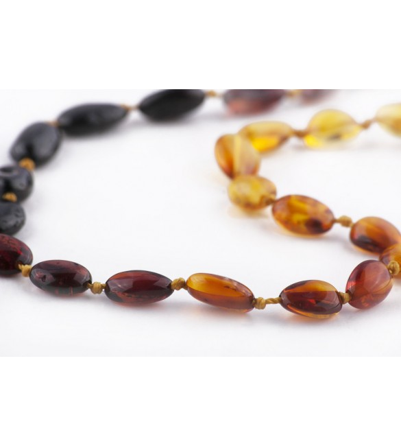 Amber Baby necklace Bean Polished Rainbow